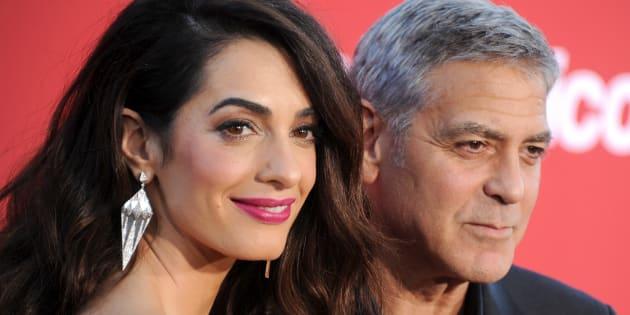 Amal y George Clooney, en el estreno de 'Suburbicon' en Westwood, California, el pasado año.