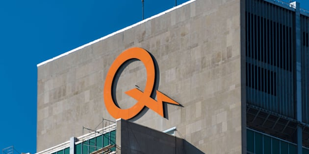Hydro Quebec orange logo on top of building.