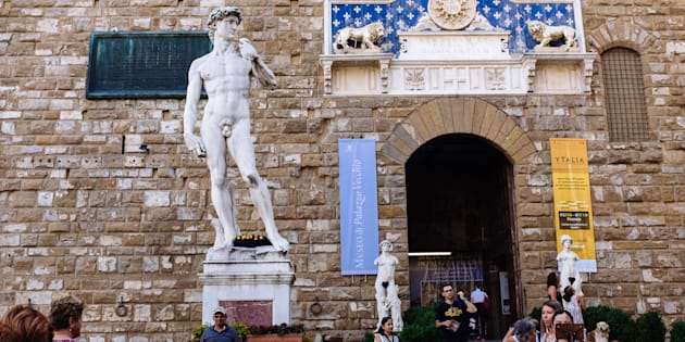 FLORENCE, ITALY - 2017/08/19: Replica of Michelangelo's David and other statues in Piazza della Signoria. (Photo by Raquel Maria Carbonell Pagola/LightRocket via Getty Images)