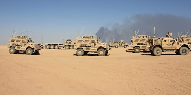 Mine-resistant vehicles basedat Qayyarah Airfield West, which will bea key staging area for U.S. and alliedtroops during the battle for Mosul. ISIS often usesroadside bombs and suicide bombers to target combatants and civilians.