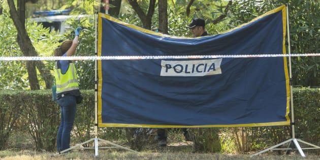 Agentes de Policía Científica y Homicidios de la Policía Nacional inspeccionan el lugar del Parque Amate de Sevilla donde ha sido hallado el cuerpo.