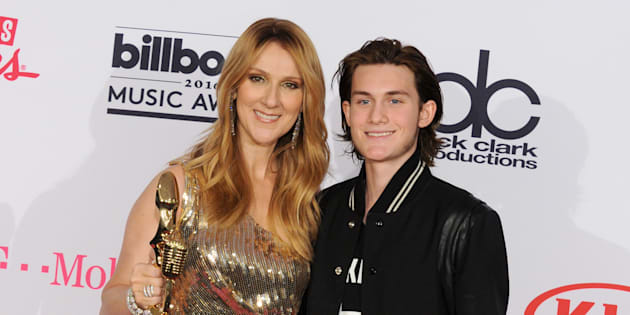 Céline Dion and son René-Charles Angélil pose at the 2016 Billboard Music Awards in Las Vegas.