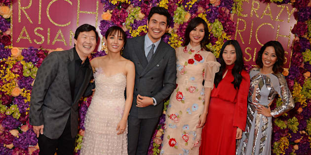 Some of the 'Crazy Rich Asians' cast at a screening in London, U.K: From left to right, Ken Jeong, Constance Wu, Henry Golding, Gemma Chan, Awkwafina and Jing Lusi.