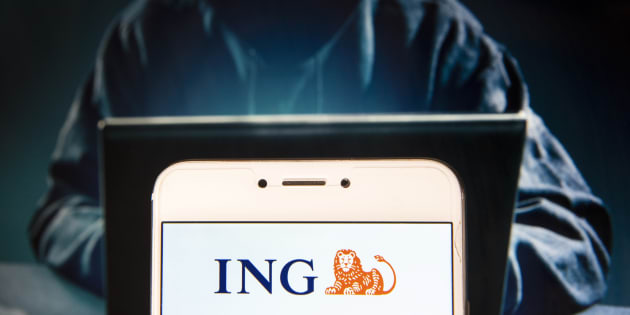 HONG KONG, CHINA - 2018/11/27: Dutch multinational banking and financial services company ING Group logo is seen on an Android mobile device with a figure of hacker in the background. (Photo by Miguel Candela / SOPA Images/SOPA Images/LightRocket via Getty Images)