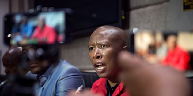Economic Freedom Fighters (EFF) party leader Julius Malema speaks during a press conference with other opposition leaders regarding their position on the embattled South African president's refusal to resign.