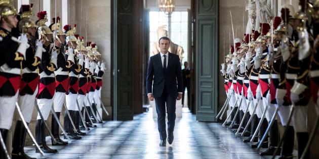 Le président Emmanuel Macron lors de son premier discours devant le Congrès réuni à Versailles en juillet 2017