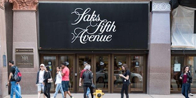 Saks Fifth Avenue in downtown Toronto. The American luxury department store is owned by the oldest commercial corporation in North America, the Hudson's Bay Company.