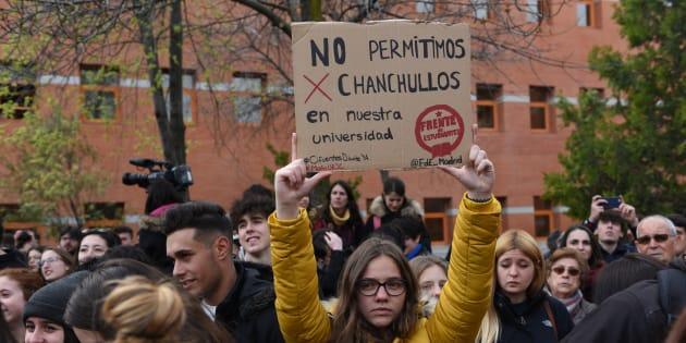 Una protesta en el campus de Vicálvaro de la Universidad Rey Juan Carlos