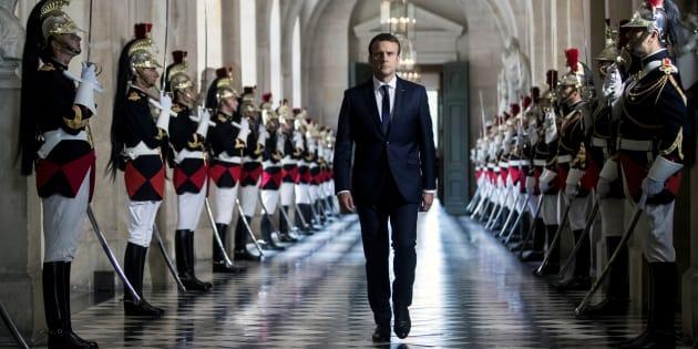Emmanuel Macron arrivant au congrès de Versailles, convoqué en juillet 2017.