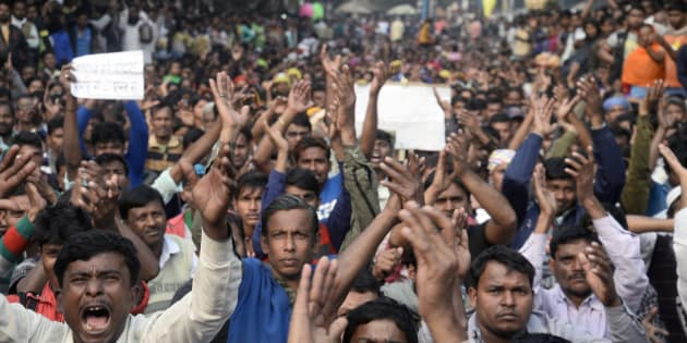 Thousands of people of Polerhat, Bhangar gather in a protest rally against agriculture land acquisition to build a power grid.