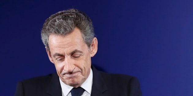 Nicolas Sarkozy à son QG de campagne après sa défaite au premier tour de la primaire de la droite.