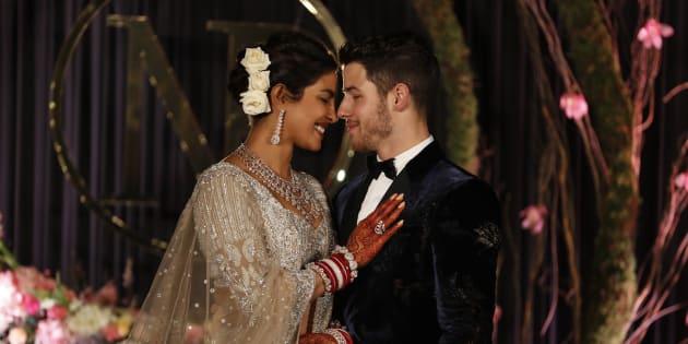 Priyanka Chopra and Nick Jonas at their wedding reception in New Delhi, India on Tuesday.