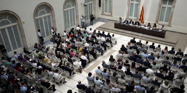 Vista general del acto que celebrado esta mañana para presentar la futura Ley del Referéndum de Autodeterminación, en Barcelona.