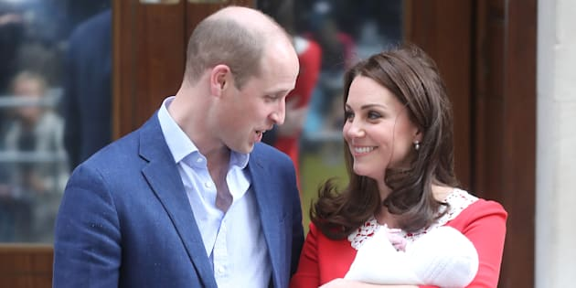 The Duke and Duchess of Cambridge depart the Lindo Wing with their newborn son at St Mary's Hospital on Monday.