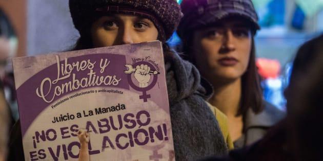Manifestación contra la sentencia de La Manada, el pasado 5 de diciembre, en Madrid.