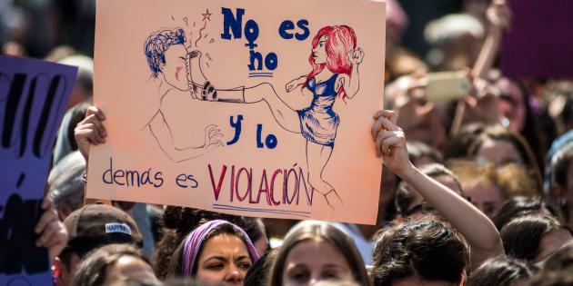 Protesta por la sentencia de La Manada ante el Ministerio de Justicia de Madrid, el pasado 10 de mayo.