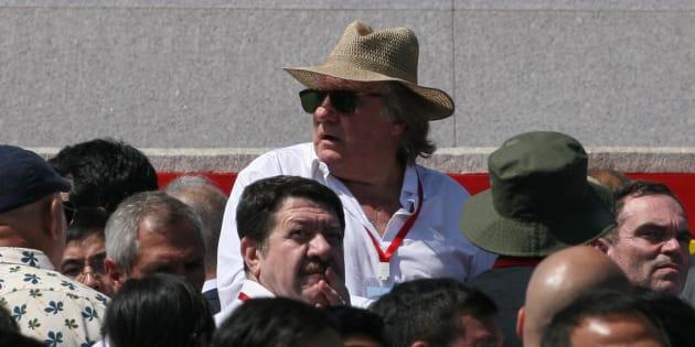 Gérard Depardieu à Pyongyang le 9 septembre 2018.