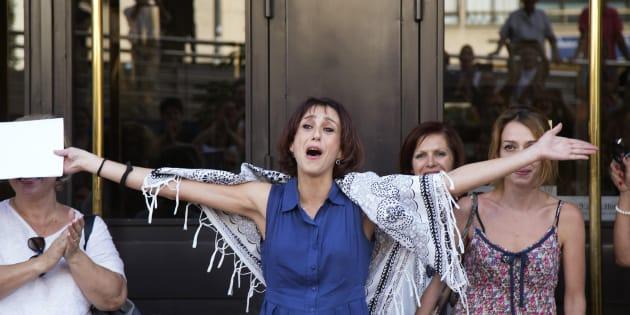 Juana Rivas, el pasado agosto en los juzgados de Granada, tras quedar en libertad por orden del juez.