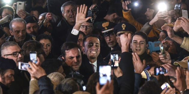 ACERRA, CAMPANIA, ITALY - 2018/03/06: Luigi Di Maio, after his election, meets the militants of the italys populist five star movement (Movimento 5 Stelle) in the municipalities of the province of Naples that following the election last March 4, is confirmed M5S stronghold. (Photo by Salvatore Laporta/KONTROLAB /LightRocket via Getty Images)