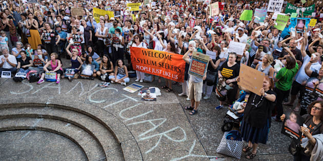 Protesters at Town Hall Square gather to demonstrate against offshore detention.
