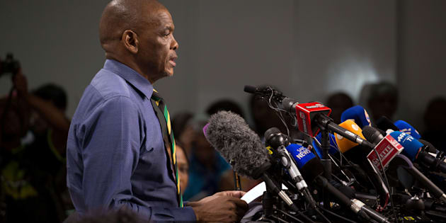 ANC secretary-general Ace Magashule and members of the ANC national executive committee address a media conference in Johannesburg, South Africa, February 13, 2018.
