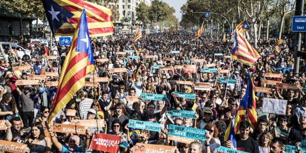 Manifestantes independentistas en Barcelona, en octubre de 2017