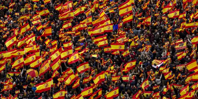 Concentración por la unidad de España convocada por PP, C's y Vox en Madrid este domingo.