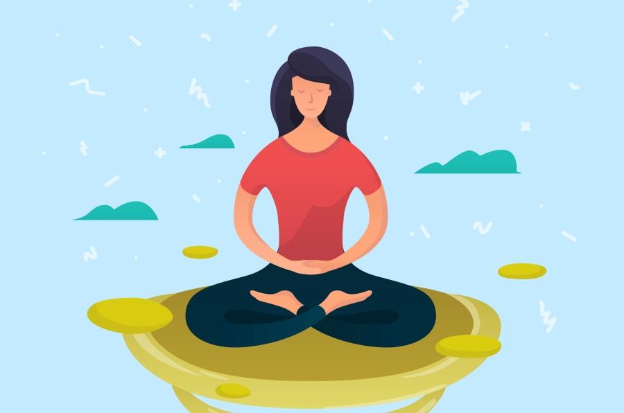 Ilustración de una mujer haciendo meditación.