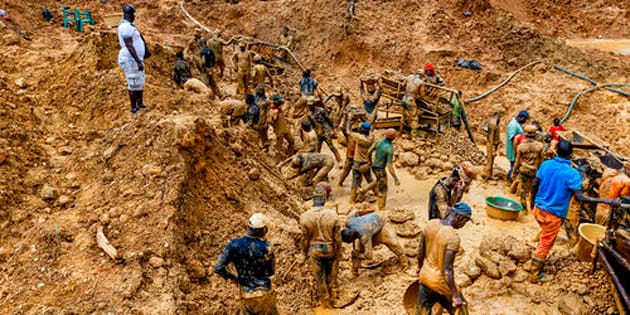 Illegal mining operation in Kyebi, East Akim.