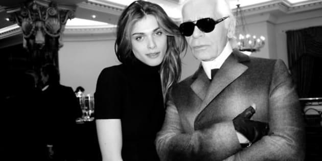 Karl Lagerfeld con Elisa Sednaoui
