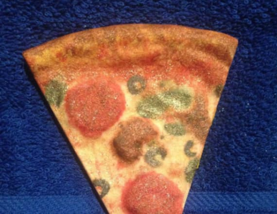 This bath bomb looks exactly like a pizza slice
