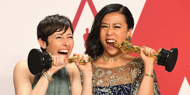 Becky Neiman-Cobb, left, and Domee Shi, winners of the Oscar for Best Animated Short for