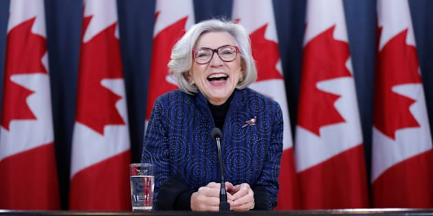Beverley McLachlin reacts during a news conference in Ottawa on Dec. 15, 2017.