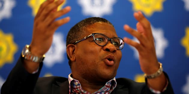 Police Minister Fikile Mbalula at a media briefing in Johanneburg on September 26, 2017. REUTERS/Siphiwe Sibeko