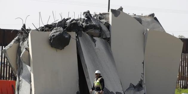 Derriban prototipos de muro de Trump en Baja California