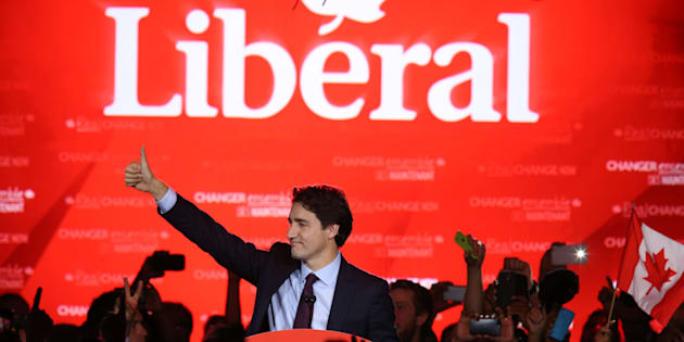 Justin Trudeau prepares to give his victory speech after Canada's federal election in Montreal on Oct. 19, 2015.