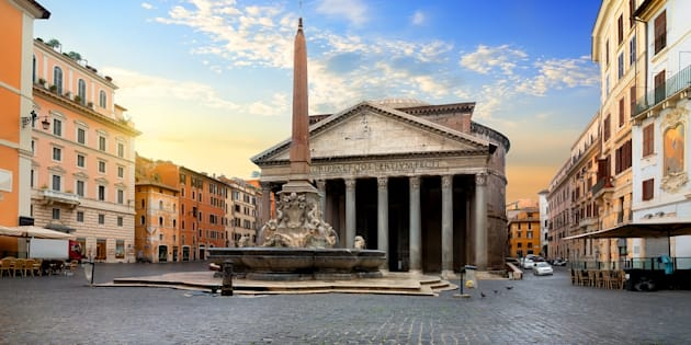 Pantheon and fountain in Rome at sunrise, Italy