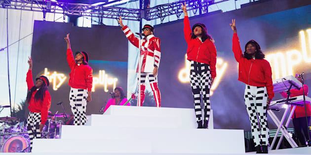 Janelle Monae performs during the 'Dirty Computer' tour at Marymoor Park on June 11 2018 in Redmond, Washington.