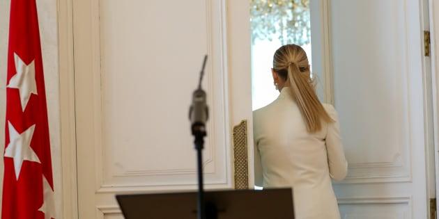 Cristina Cifuentes, el pasado 25 de abril, tras anunciar su dimisión como presidenta de la Comunidad de Madrid.