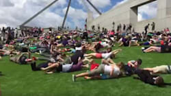 Protesters Roll En Masse Down Parliament House