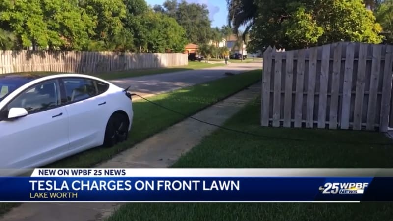 Tesla owner steals stranger's electricity while parked on their lawn