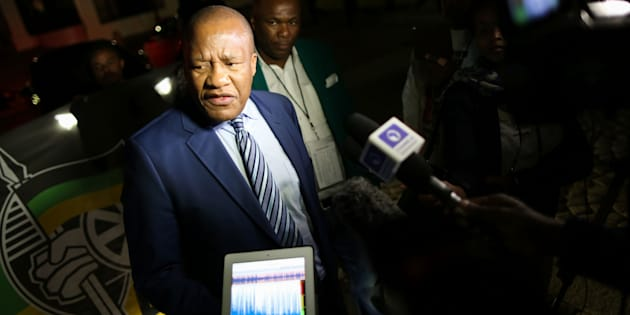 South Africa's African National Congress (ANC) party chief whip Jackson Mthembu speaks to journalists outside Parliament on August 8, 2017 in Cape Town.