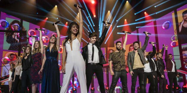 Una de las actuaciones de la gala especial de despedida de 'Operación Triunfo 2017' el 13 de febrero de 2018 en Barcelona.