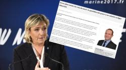 Le communiqué du FN qui tombe mal le jour des vœux à la presse de Marine Le