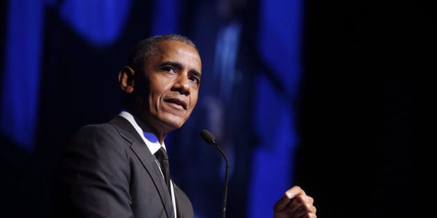 Former U.S. President Barack Obama accepts the Robert F. Kennedy Human Rights Ripple of Hope Award at a ceremony in New York on Dec. 12, 2018.