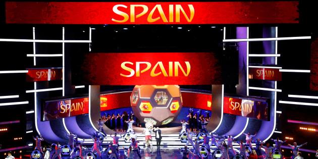 Coreografía para España durante el sorteo del Mundial, el pasado diciembre, en Moscú.