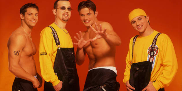 The members of 98 Degrees, are pictured circa 2000: Jeff Timmons, Justin Jeffre, Nick Lachey, Drew Lachey.