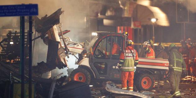 Un immeuble a explosé à Leicester en Grande-Bretagne ce 25 février 2018.