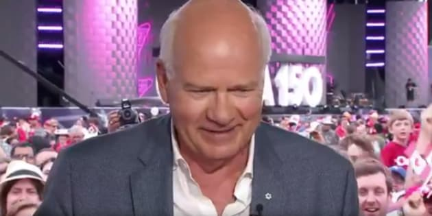 CBC anchor Peter Mansbridge gets emotional as he finishes his Canada Day broadcast.