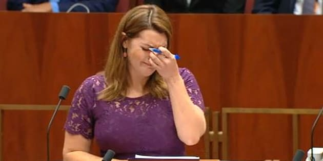 Senator Sarah Hanson-Young during her speech on marriage equality